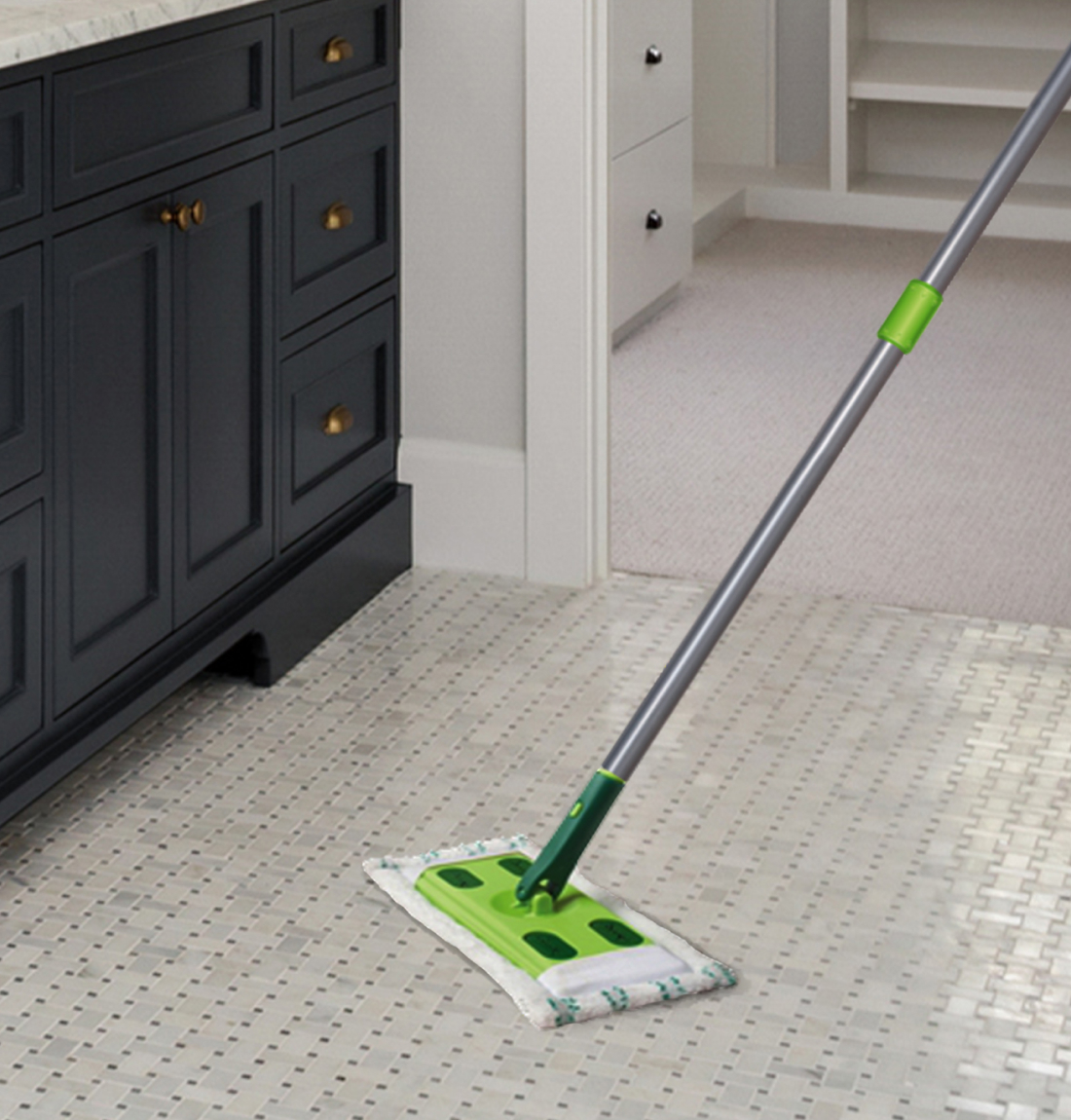 Quick Shine® Hardwood Floor Mop on bathroom floor