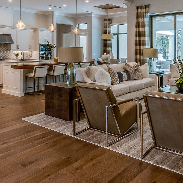 Great Room with Hardwood Flooring